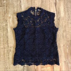 Nanette Lepore Navy Blue Lace Mock Neck Top S